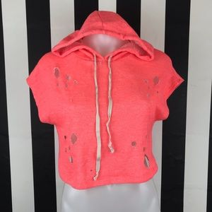 Nasty Gal #Gal Boss Coral Distressed Crop Hoodie